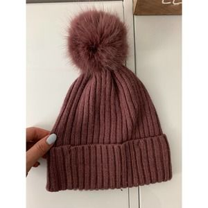 EUC Mauve/Dusty Rose Pom Pom Hat